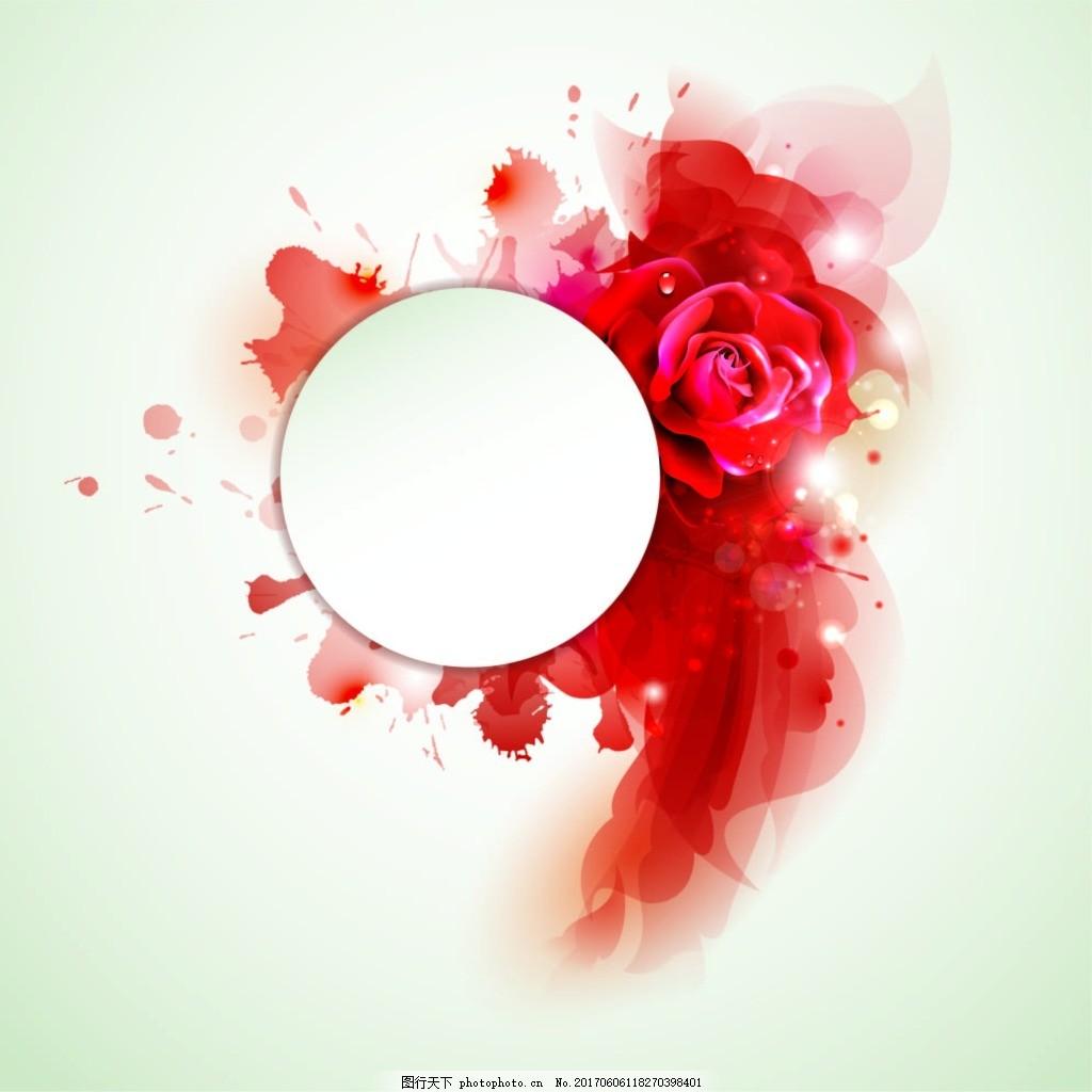 红色玫瑰泼墨渲染效果 圆形 红玫瑰 花朵 喷绘 灰色背景
