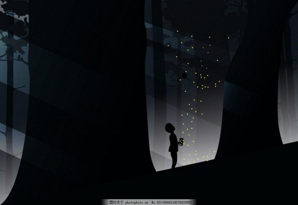 夜晚黑色森林背景图