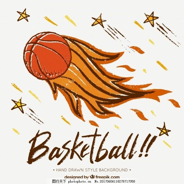手绘火焰篮球球背景 运动 健身 消防 健康 游戏 团队 绘画 篮筐