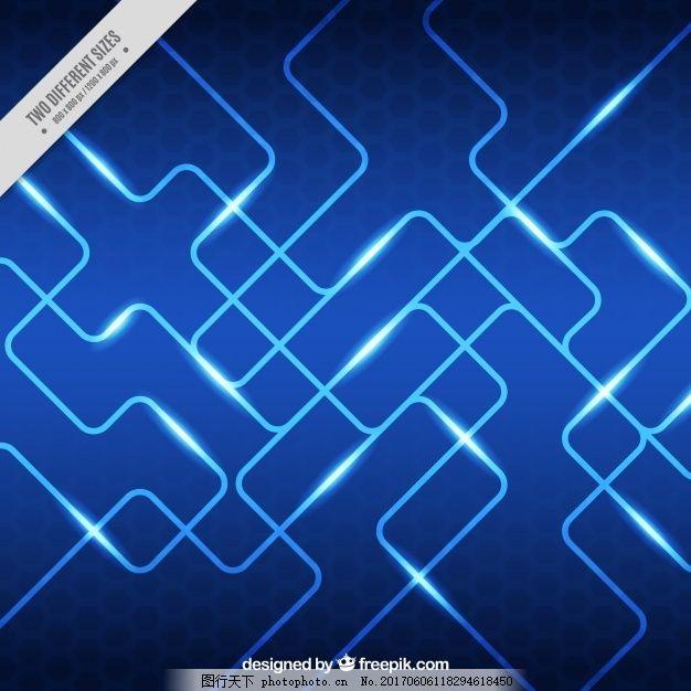 蓝色背景明亮的电路 抽象背景 形状 线条 创意 抽象线条 现代