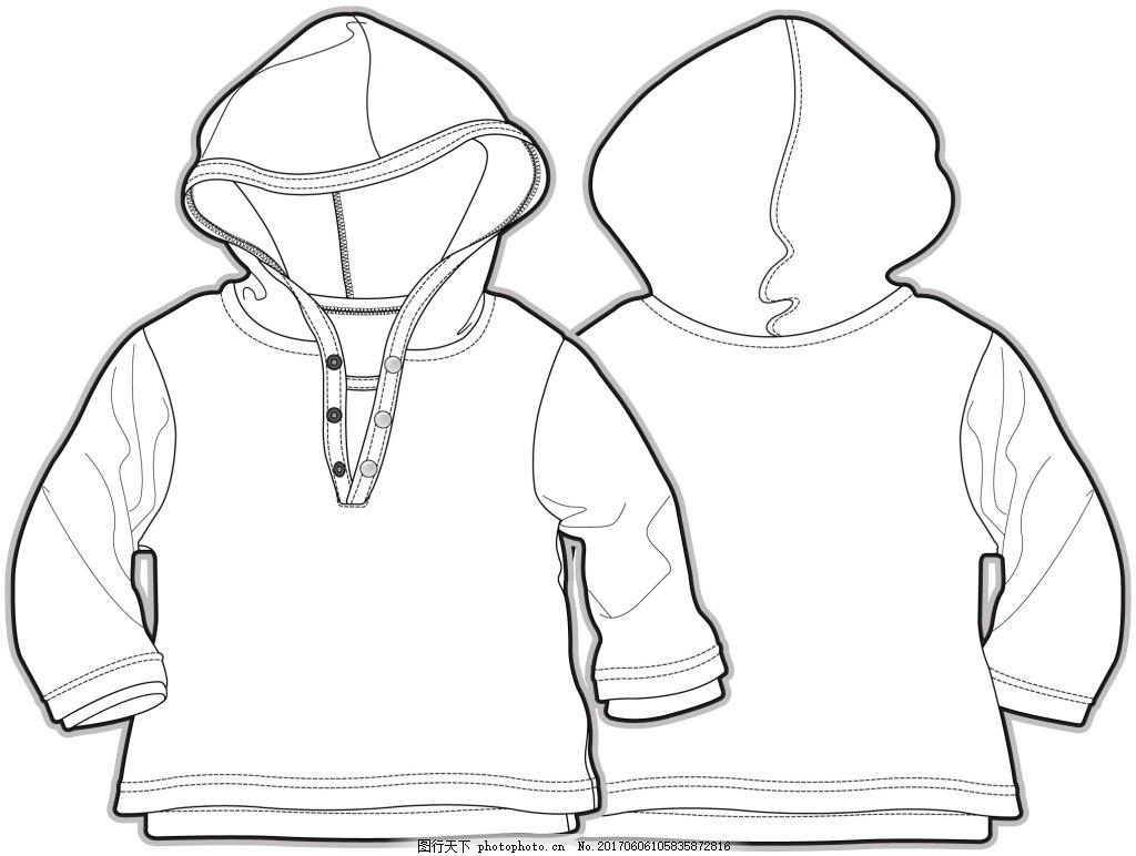 連帽衛衣小男孩服裝設計線稿矢量素材
