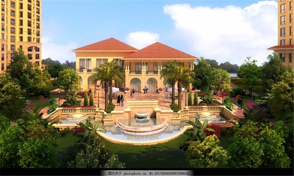 蓝云白云小区建筑效果图 计 景观设计 室外设计        景观图 后期