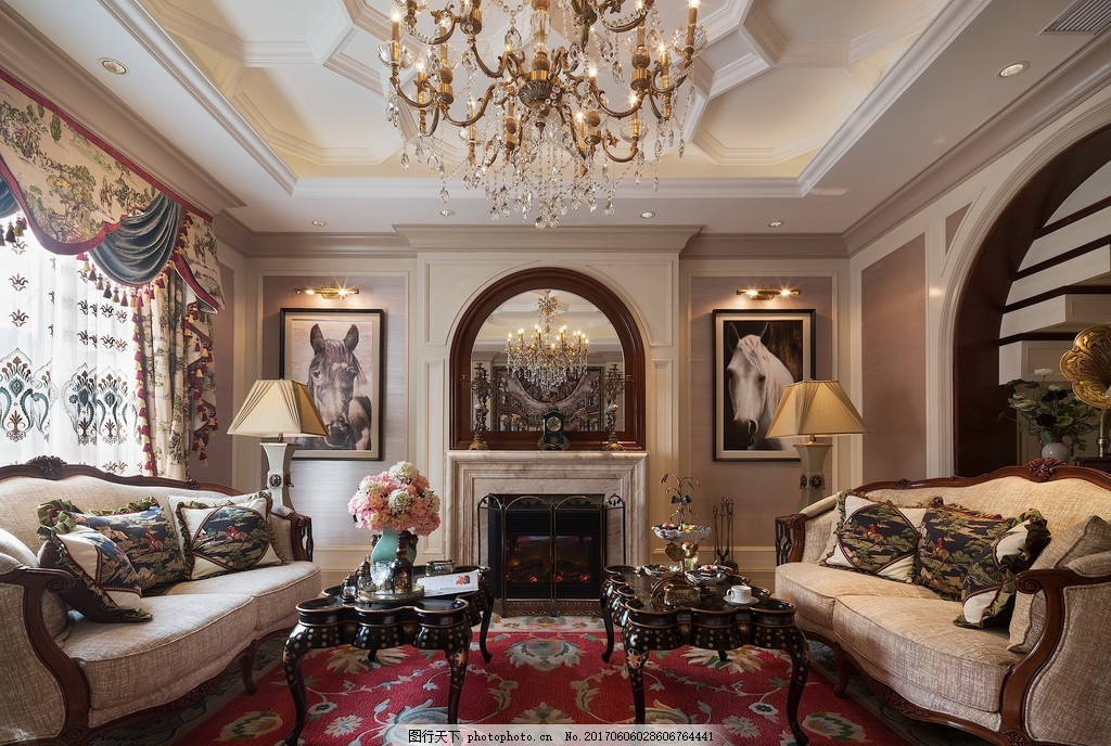 现代美式别墅客厅装修效果图 室内设计 家装效果图 美式装修效果图