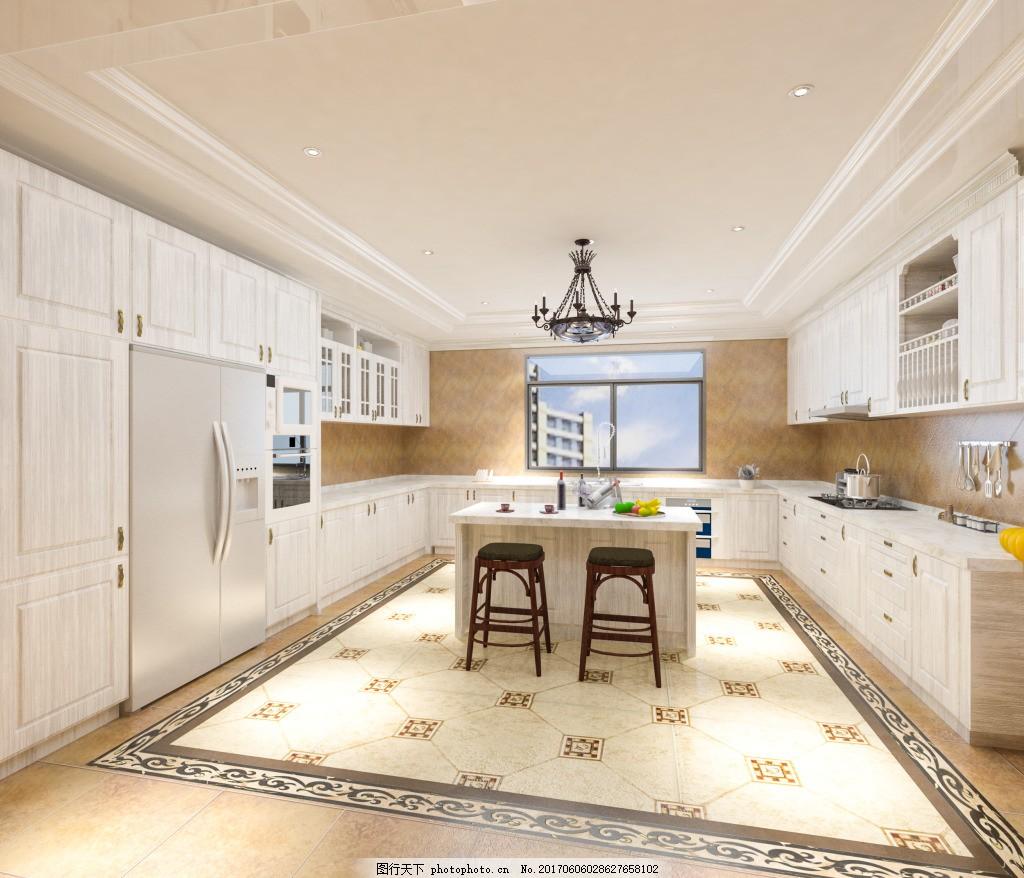 欧式厨房效果图 厨房效果图      橱柜效果图 室内设计
