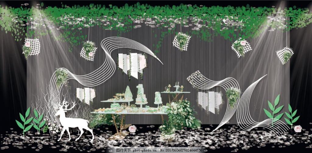 白绿色小清新婚礼甜品区效果图 小清新婚礼 绿色婚礼 森系婚礼 白绿色