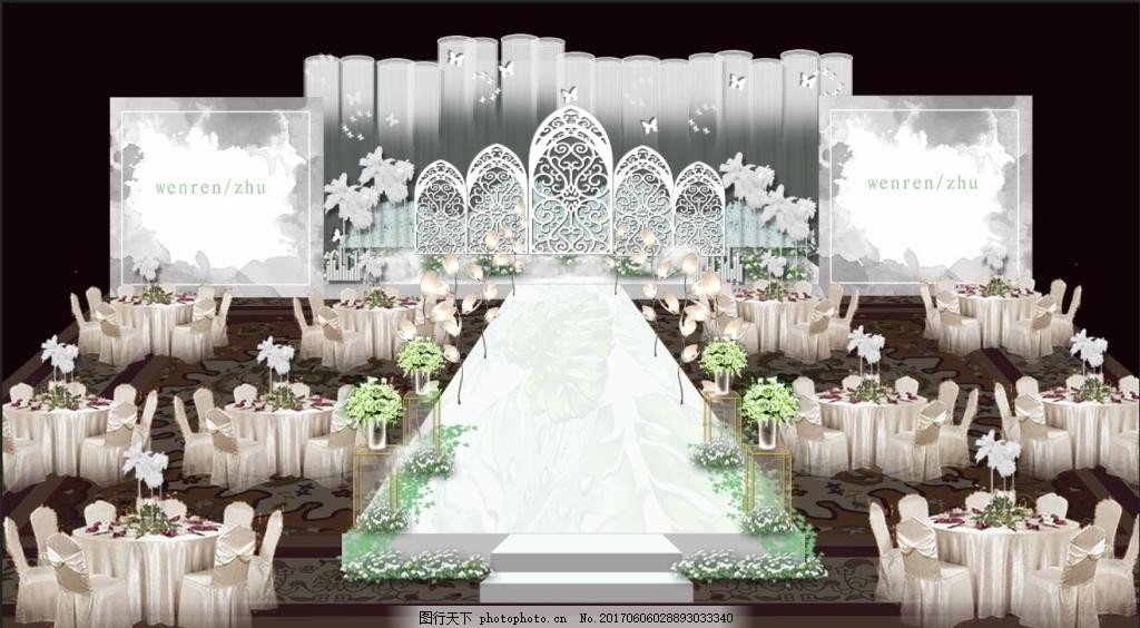 白绿色小清新婚礼主背景效果图 白绿色婚礼 白色婚礼 吊顶 珠帘图片