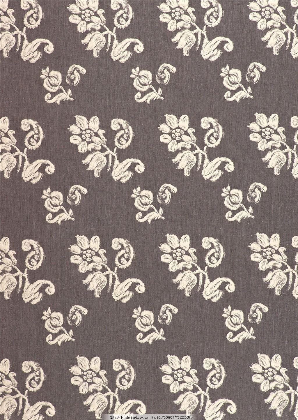 白色花纹布艺壁纸图片
