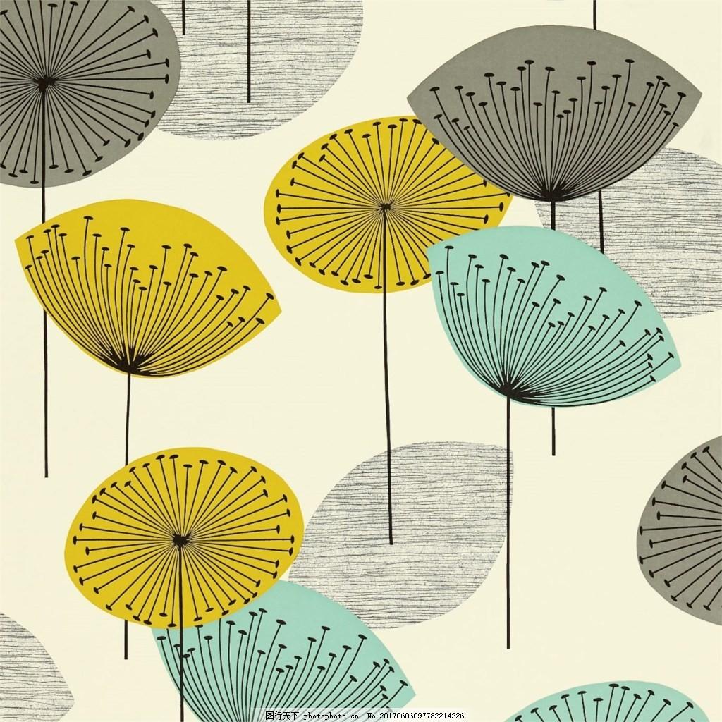 彩色莲蓬伞图案壁纸素材