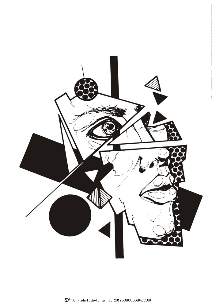 潮牌设计 面料印花 布料印花 人物 手绘人物 线描人物 眼睛 嘴唇 几何