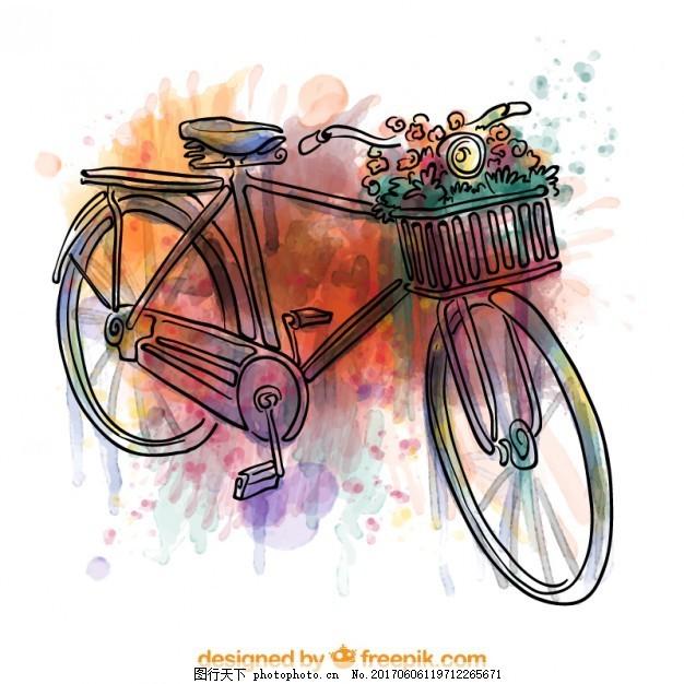 手绘水彩画自行车 复古 手工 油漆 飞溅 五颜六色 运输 色彩飞溅