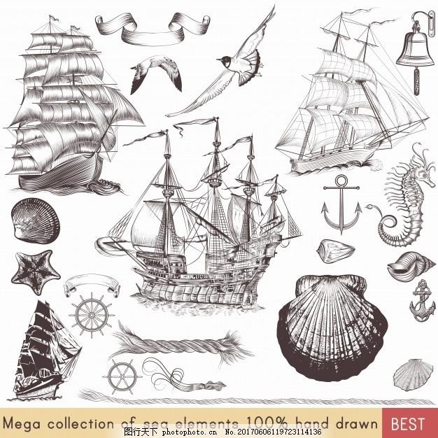 复古帆船元素收集 旧货 一方面 海 手绘 素描 绳锚钟画