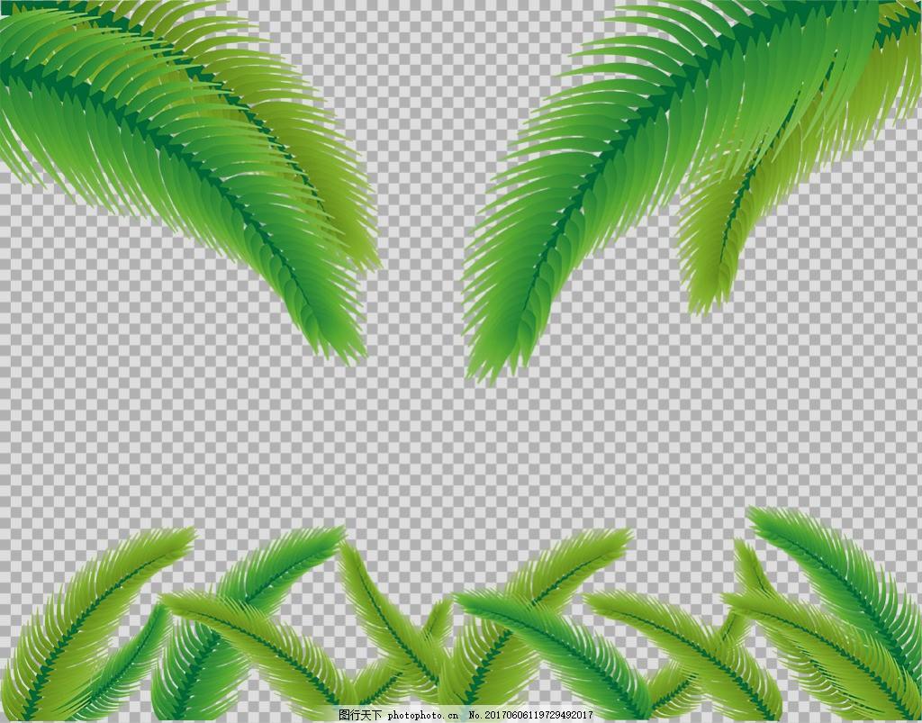 手绘棕榈叶子插画免抠png透明图层素材 春天素材 清新树叶 植物