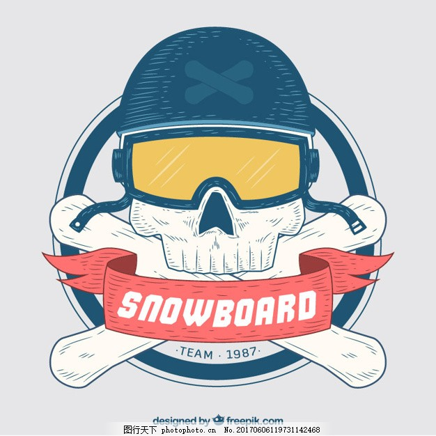 手绘骷髅滑雪徽章