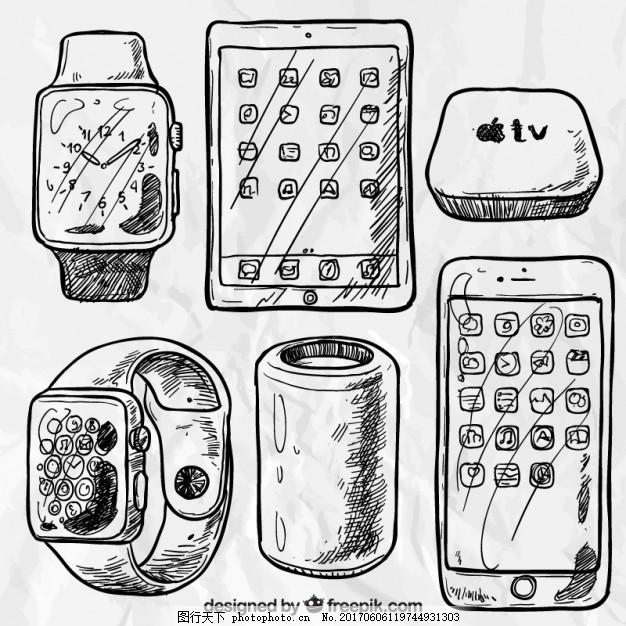 粗略的苹果产品 技术 手 电脑 电话 手绘 手机 智能手机 平板电脑