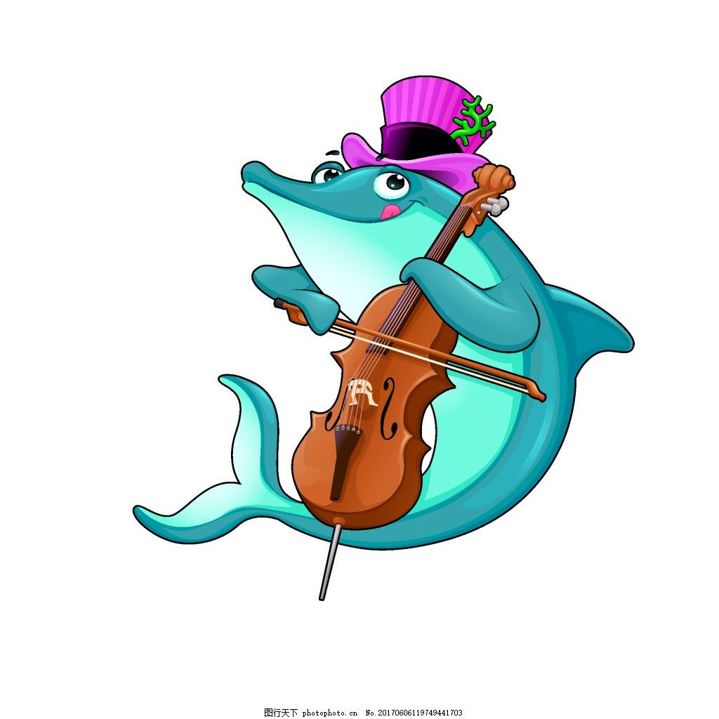 手绘海豚音乐元素