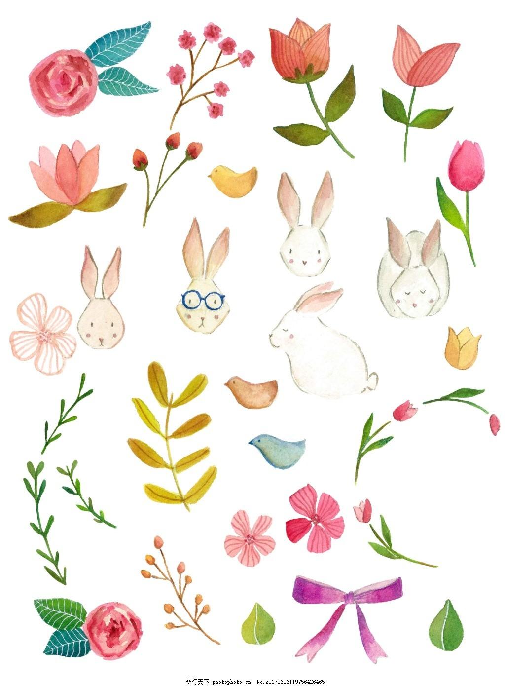 卡通小清新元素背景 花朵 植物 手绘 兔子 蝴蝶结 可爱 底纹