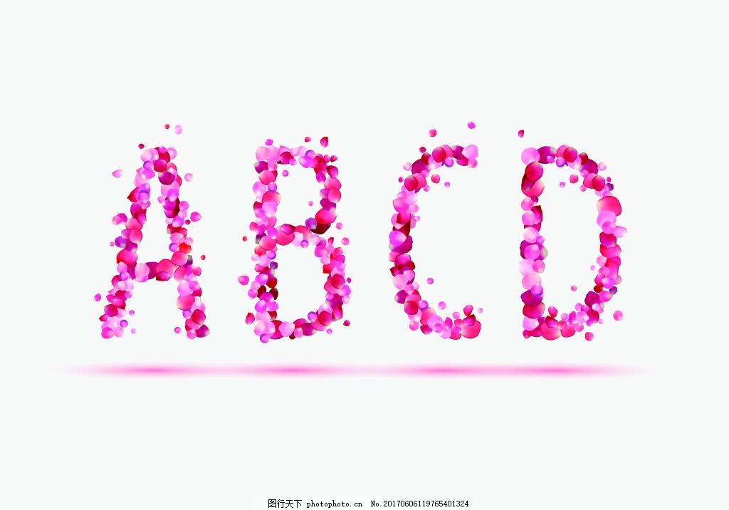 卡通花瓣粉色英文矢量海报设计素材 玫瑰 手绘 水彩 插画 创意图片