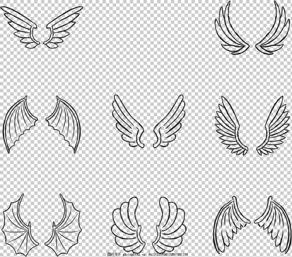 卡通翅膀 翅膀图片素材 纹身图案 翅膀素材png 翅膀素材 手绘翅膀图片