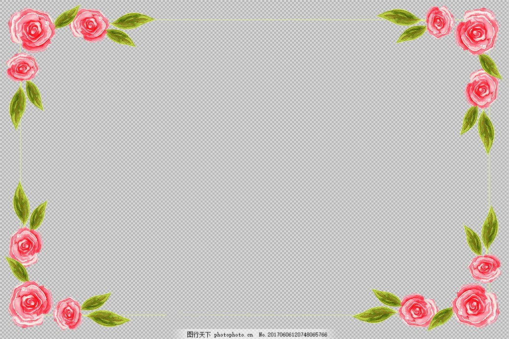 绿叶红色花卉边框免抠png透明图层素材 淘宝边框花边 花纹素材