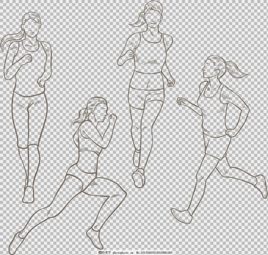 跑步人物简笔画