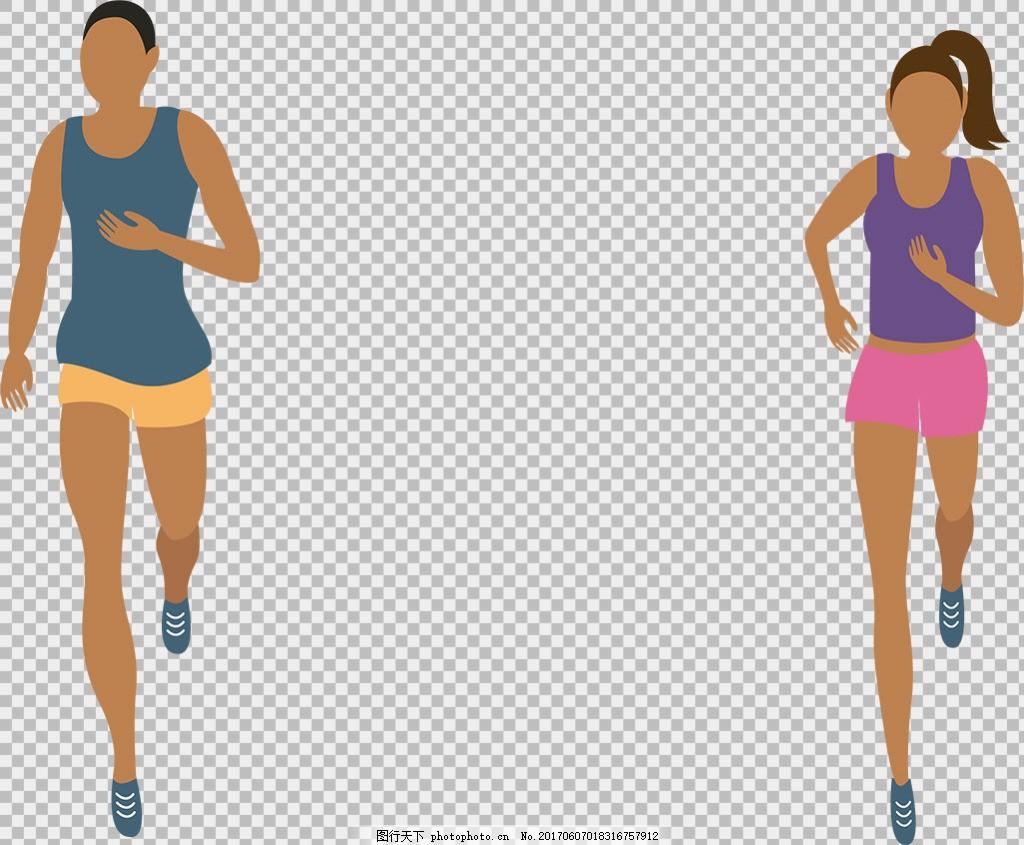 手绘女性跑步者免抠png透明图层素材 卡通奔跑的人 运动会 励志