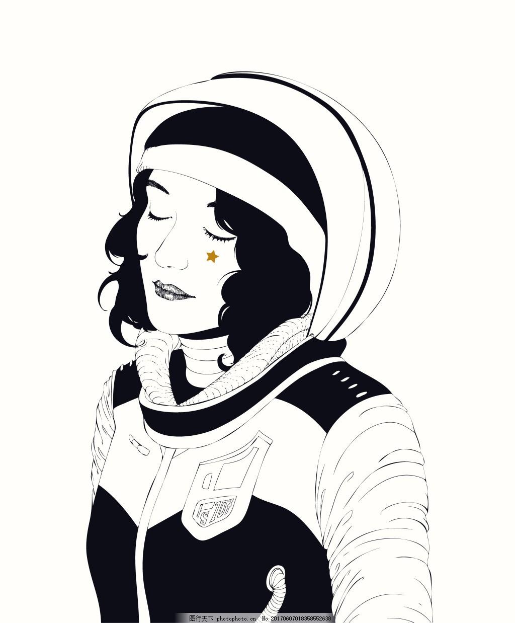 女宇航员短发卡通人物 宇航服 美女 素描 手绘 插画 矢量 文件