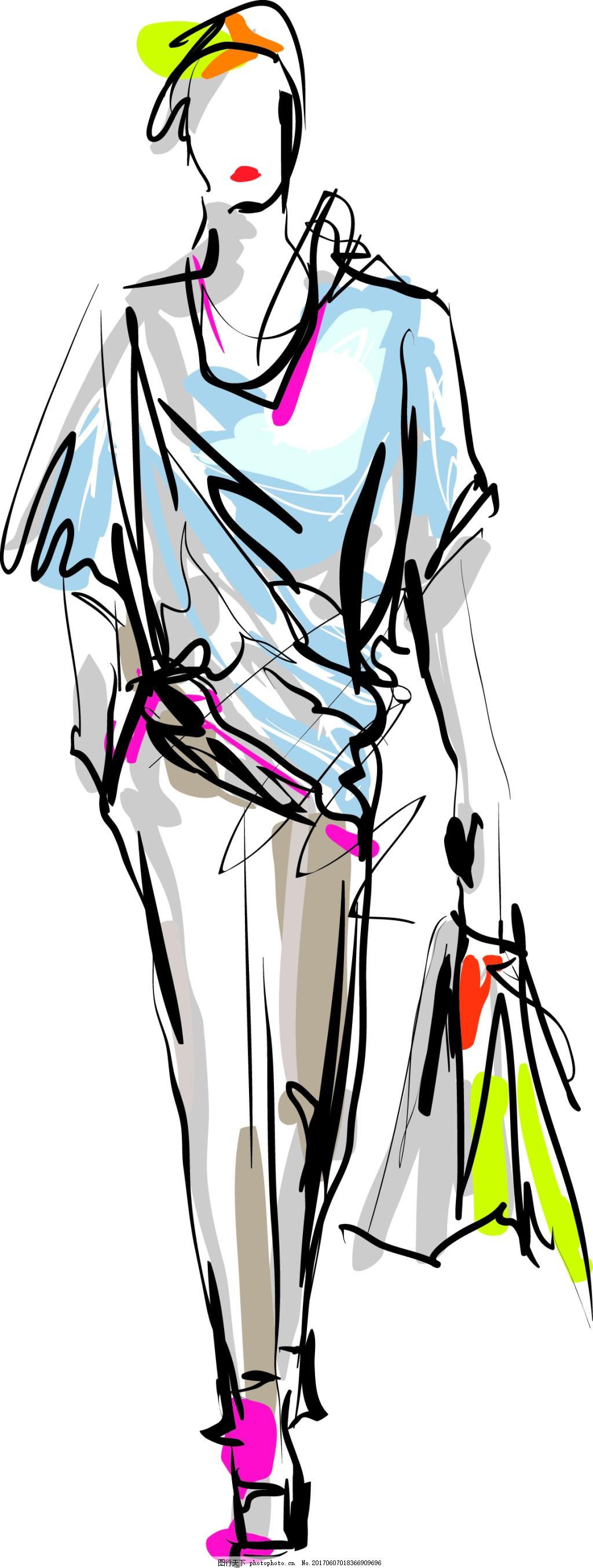 时尚人物插画 手绘 速写 时装 模特