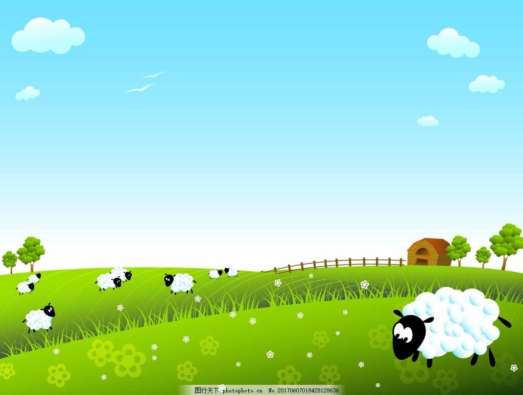 草场上的羊群 风景 蓝天 白云 牧场 草场 动物 绿色 自然 羊群