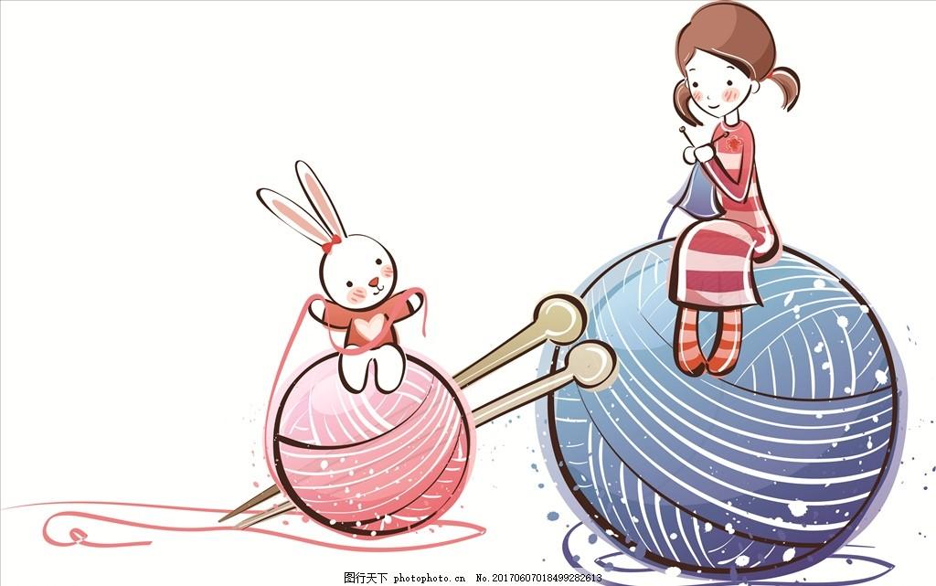 手绘 线条 女孩 手绘线条 女孩 毛球 小兔子 可爱 设计 动漫动画 风景