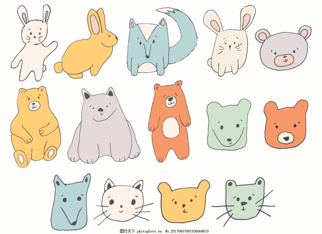 可爱卡通手绘动物矢量设计素材