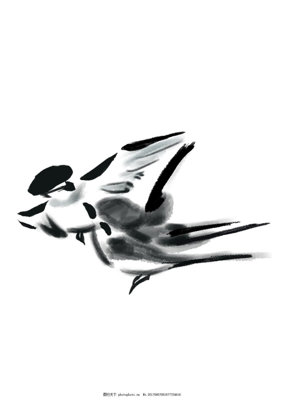 中国风水墨小鸟 燕子 水彩 古风