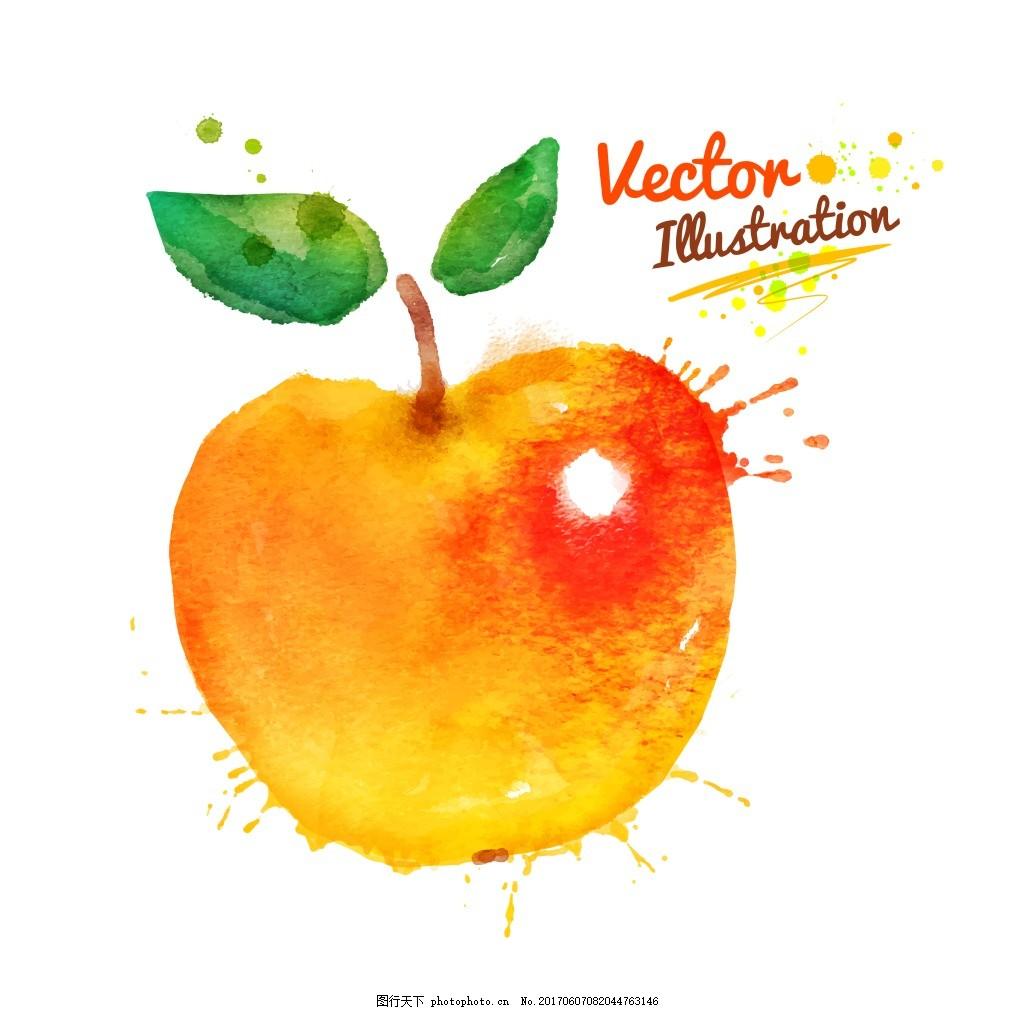 苹果创意喷溅水彩墨迹水果矢量