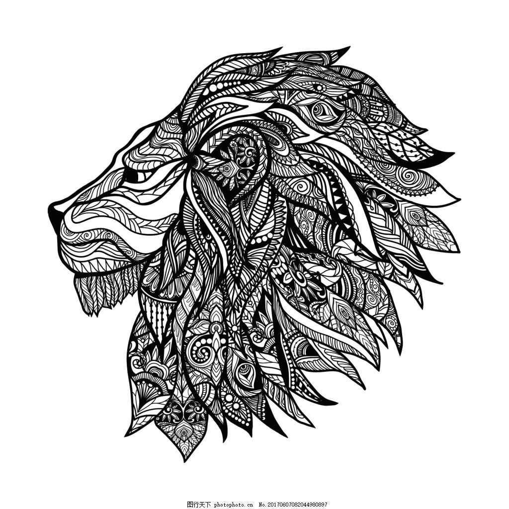 狮子头面具纹身图案矢量 丛林 部落 黑白 欧美 手绘 艺术 精细 铅笔画