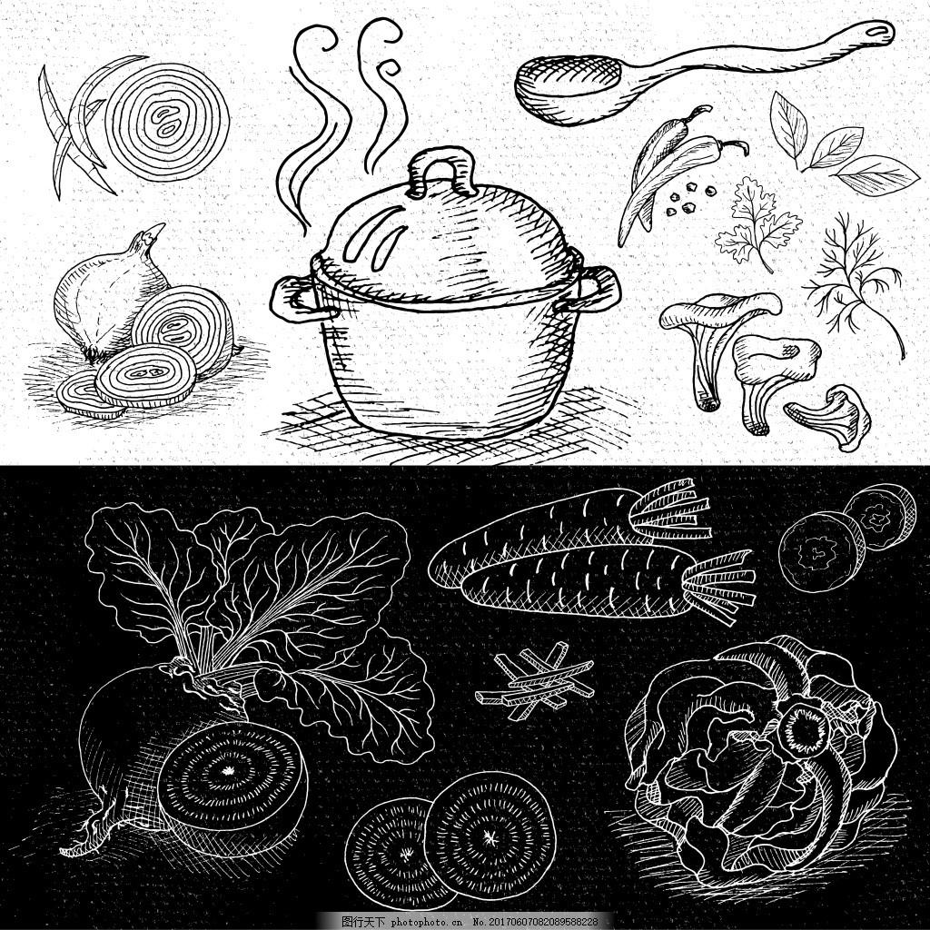 黑板手绘厨房蔬菜矢量合集