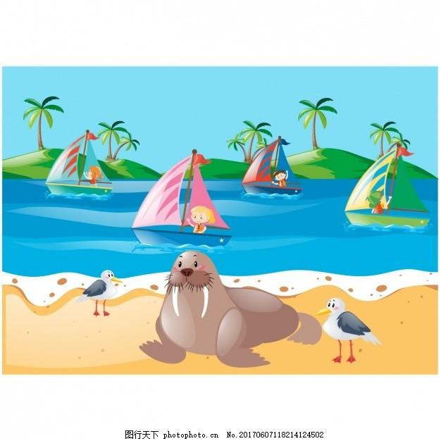 海滩背景设计 夏天 动物 壁纸 颜色 船 多彩的背景 夏天的海滩