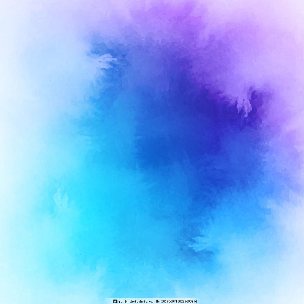 蓝调水彩印染效果背景 淘宝水彩效果背景 唯美 梦幻 矢量图素材