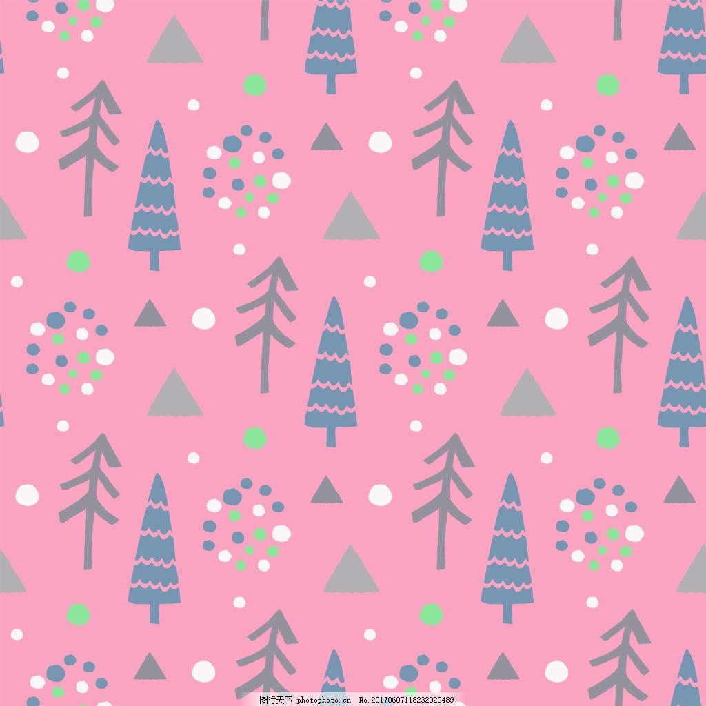 粉色树林矢量设计vi花型 卡通 梦幻 手账 边框 纹理 波西米亚风 儿童