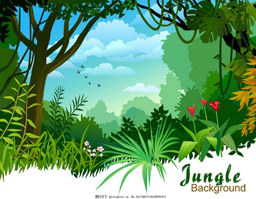 绿色自然风景背景图 背景素材 广告 免费下载 大树 森林 鲜花