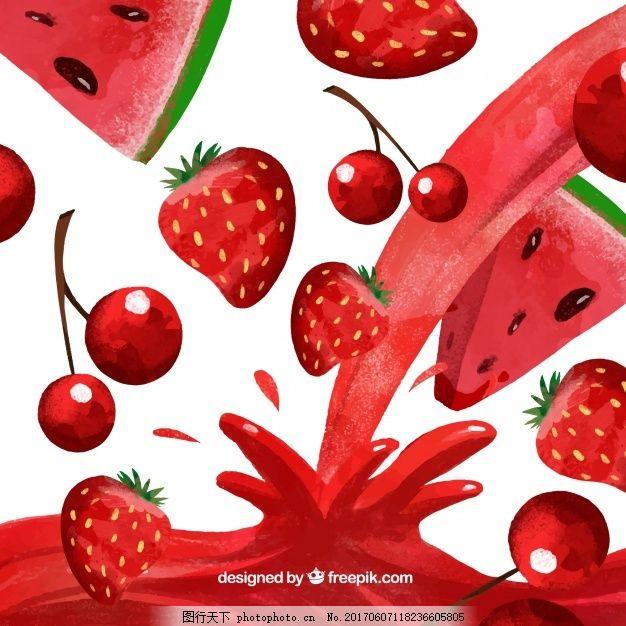 果汁背景与西瓜,樱桃和草莓水彩画风格