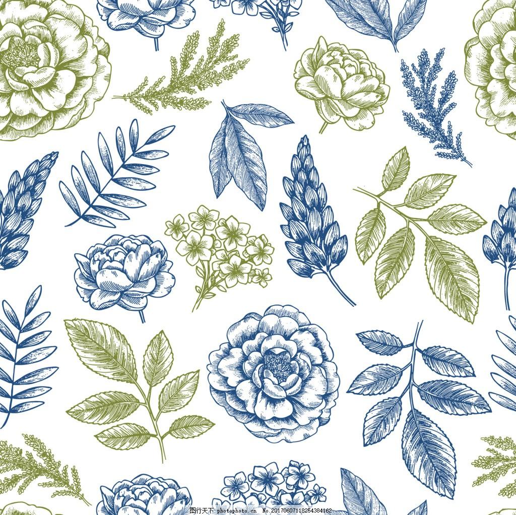 蓝色线描植物花朵蝴蝶元素背景矢量 线描花朵 手绘 铅笔画 广告