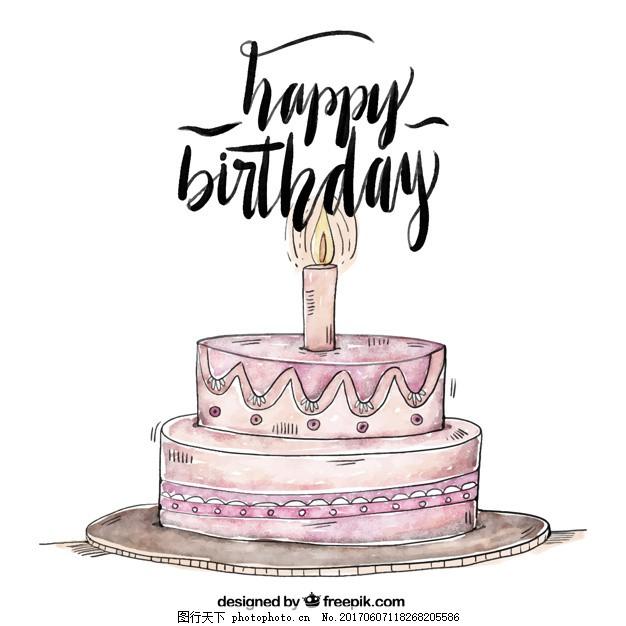 背景 水彩 生日 请柬 生日快乐 派对 手 蛋糕 手绘 周年纪念 水彩背景
