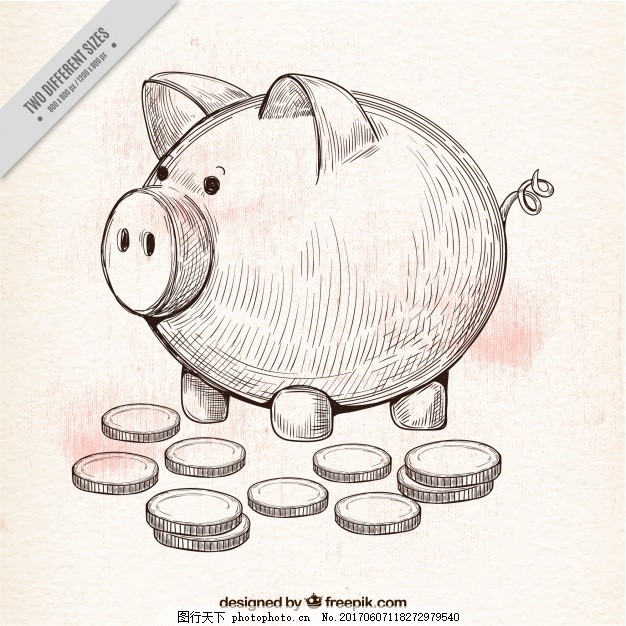 手绘背景的存钱罐和硬币