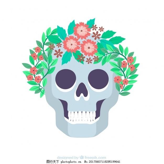 平面设计中的装饰骷髅头 背景 花卉 设计 花卉背景 头骨 可爱 颜色