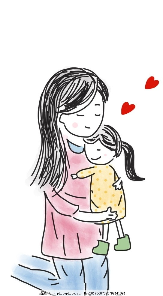 儿童节彩色简笔画 儿童简笔画 六一儿童节 儿童节 彩色 简笔画 妈妈