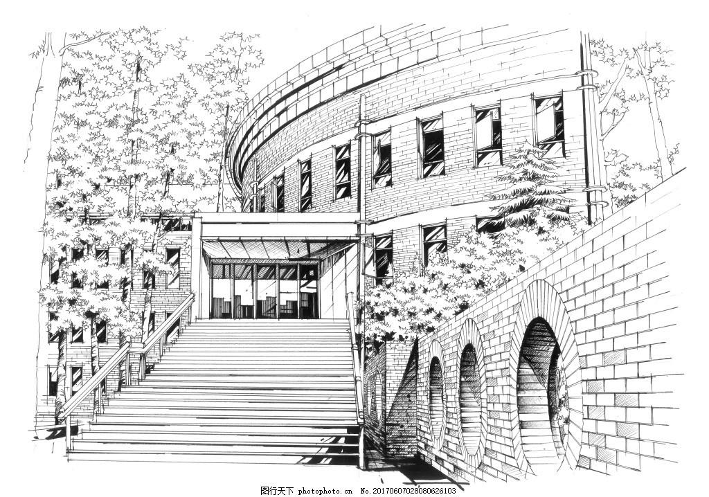 建筑手绘建筑效果图 建筑设计手绘 手绘效果图 大禹手绘
