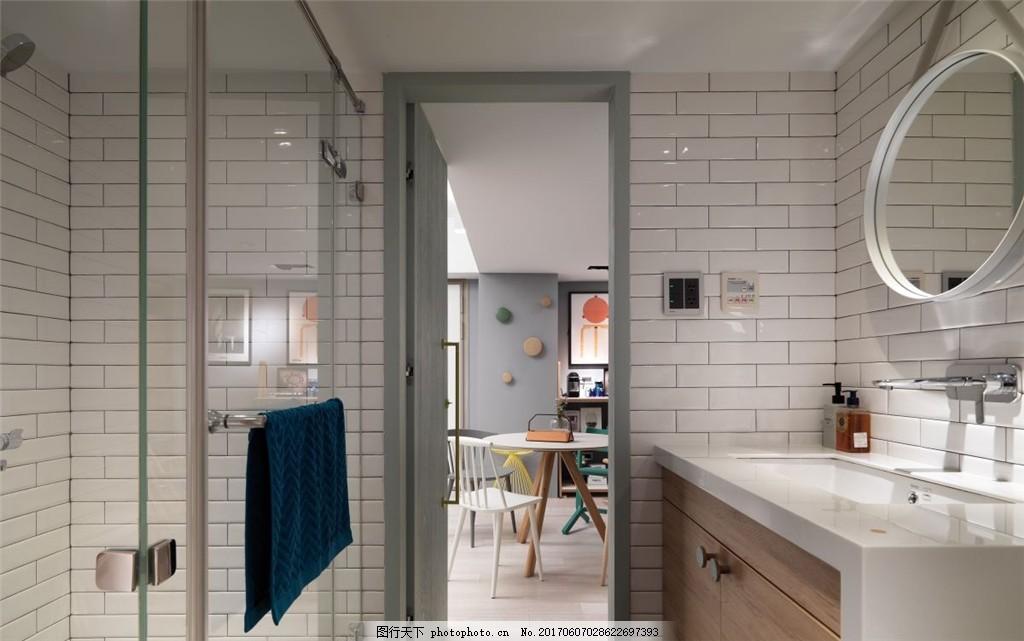北欧简约卫生间装修效果图 室内设计 家装效果图 欧式装修效果图 时尚