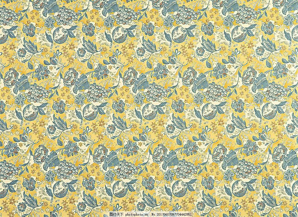 黄色花纹布艺壁纸 中式花纹背景 壁纸素材 无缝壁纸素材 欧式花纹 jpg