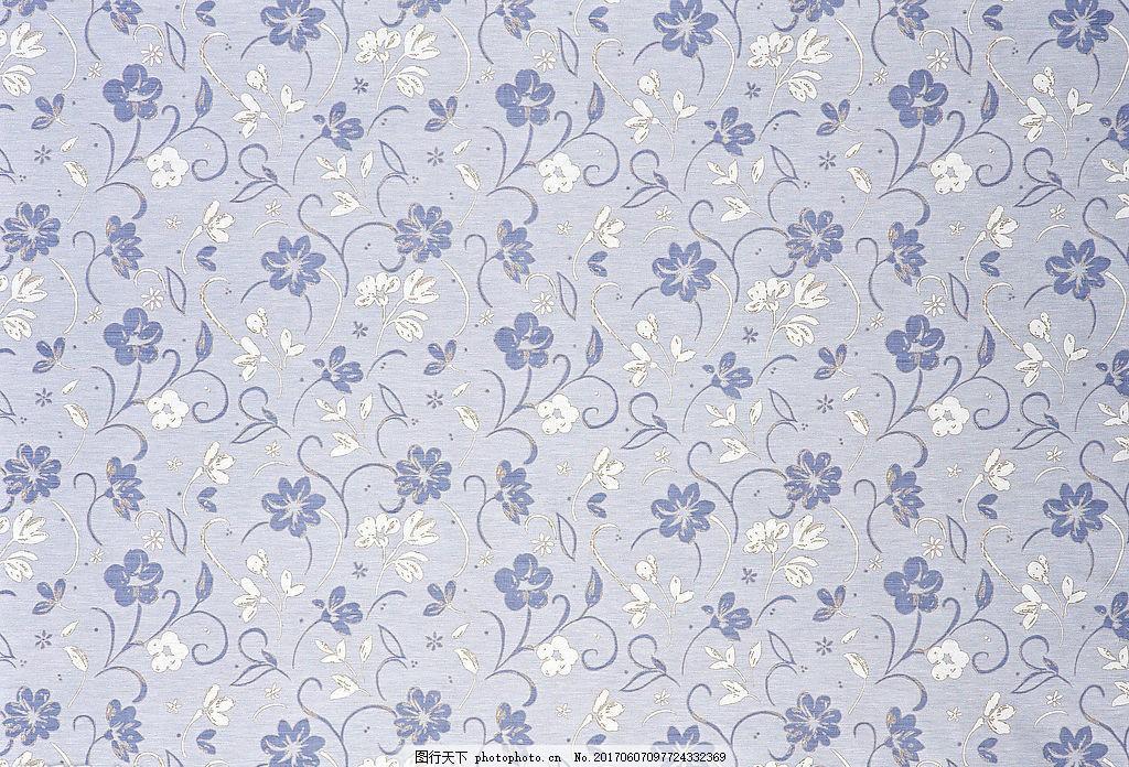 蓝色中式花纹布艺壁纸