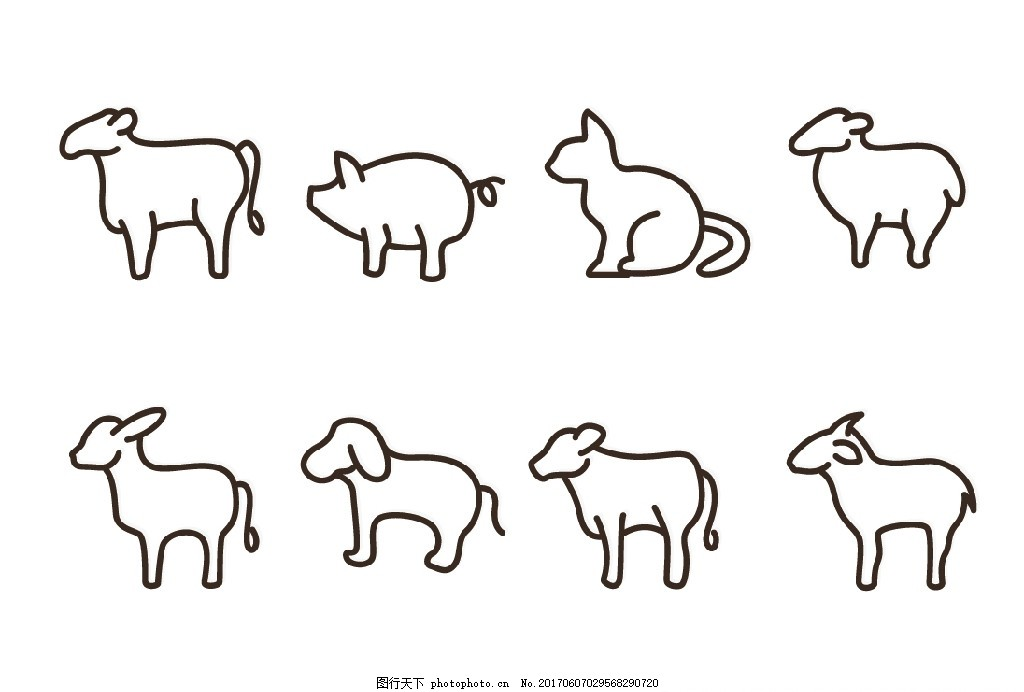 动物简笔 牛 猪 猫 羊 驴 简笔画 简笔 设计 广告设计 广告设计 ai