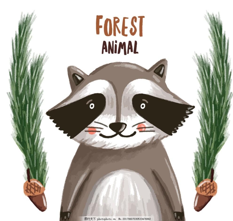 企鹅 兔子 狗猫 熊猫 大象 狐狸 松树 水牛 牛 狗 老虎 斑马 手绘动物